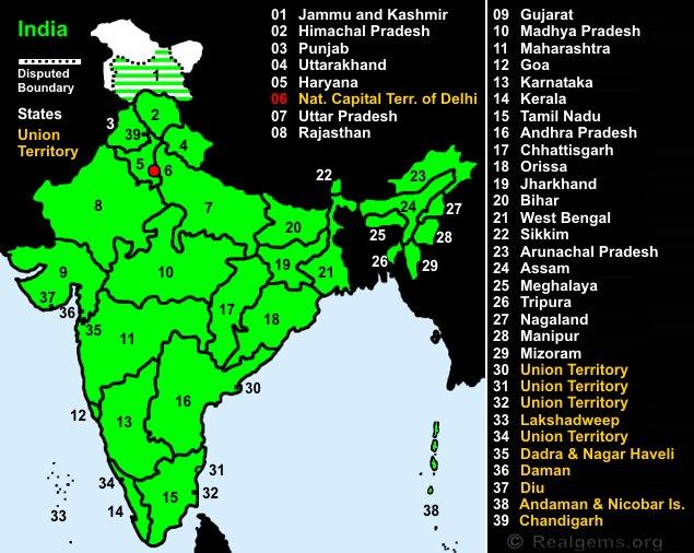 Gemstone World Map.Gemstone Deposits India