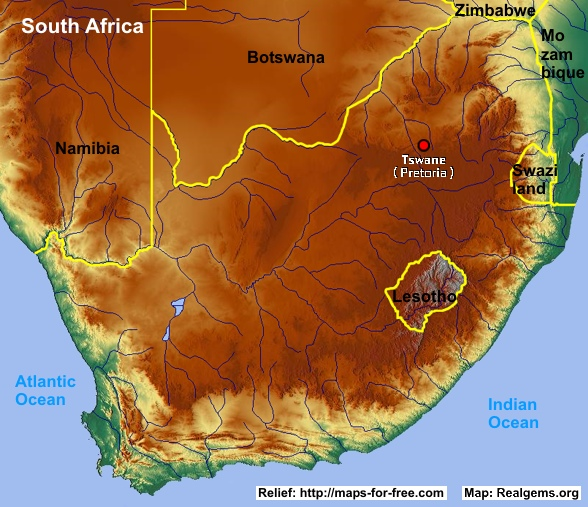 Relief Map Of Southern Africa.Gemstone Deposits South Africa